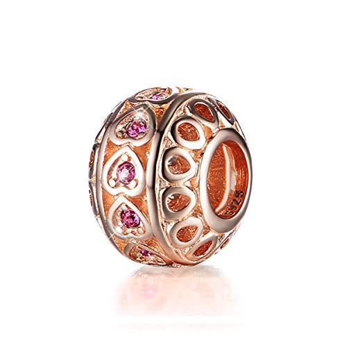 GW Charms Corazón Oro Rosa Plata Ley 925 con Swarovski Cristal para Pandora Pulsera