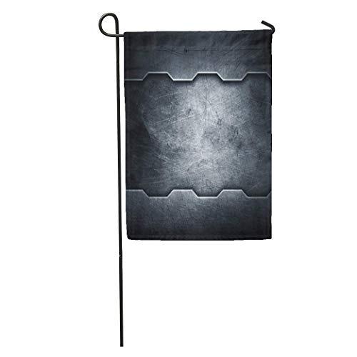 hongwei Gartenflagge Silber Eisen Metall Grau Stahl Alte Grenze Schraube Raummuster Home Yard Haus Dekor Barnner Outdoor Stand 12.5 'x 18' Flagge