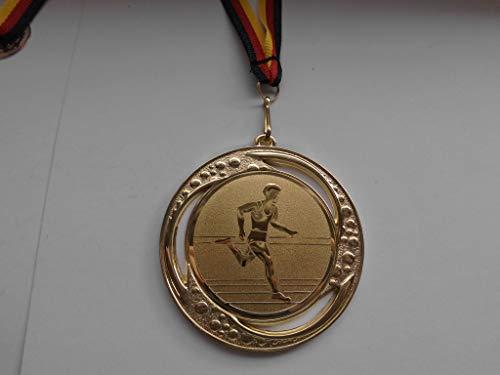 Fanshop Lünen Medaillen - Medaille - Große Metall 70mm - (Gold) - Leichtathletik - Laufen - Lauf - Volkslauf - mit Alu Emblem,50mm (Gold) - mit Medaillen-Band - (e259) -