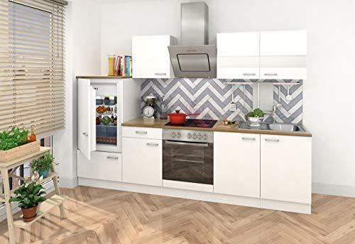 respekta Einbau Küche Küchenzeile 270 cm weiss Front weiss