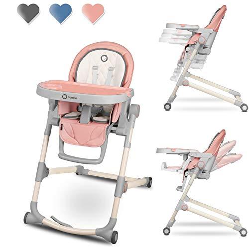 Lionelo Cora hoge stoel baby, kinderstoel tot 15 kg, in hoogte verstelbaar, verstelbare rugleuning, dubbel dienblad, voor peuters (roze)