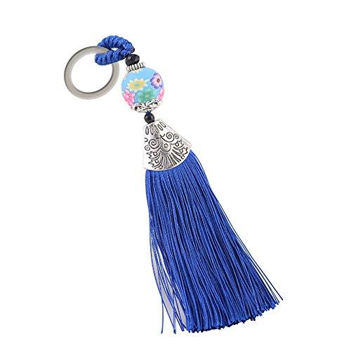 Vi.yo Eis Seide Quaste Schlüsselbund Einfach und stilvoll Damentasche Schlüsselanhänger Geeignet für Rucksack Auto Dekoration Anhänger Größe: 14,5 * 2cm(Blau)