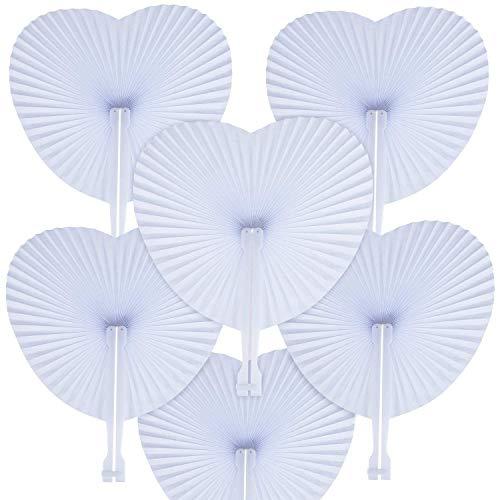 WOWOSS 60 Pcs Abanicos Plegables de Papel Decoración en Forma de Corazón para Invitados de Bodas, Fiestas o Ceremonias (Todos Blancos)