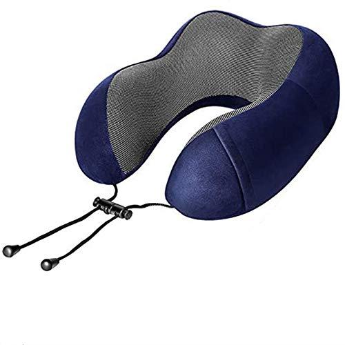 Almohada multifuncional en forma de U de espuma viscoelástica que se puede doblar y almacenar. Adecuado para almohadas de viaje de avión