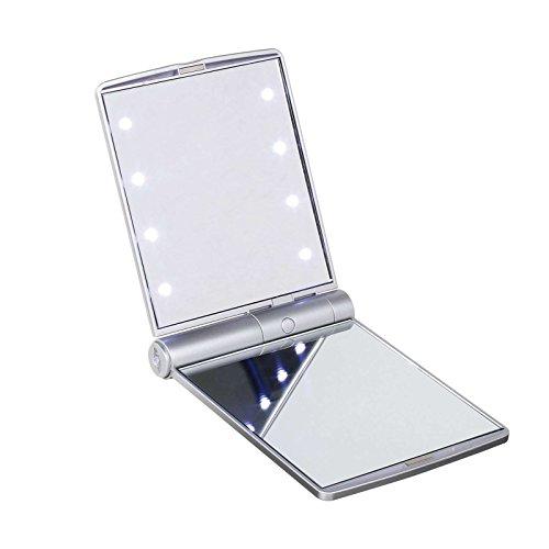 Beleuchteter Taschenspiegel mit Vergrößerung Leuchtspiegel Silber (Schminkspiegel, Kosmetikspiegel mit LED Licht, Spiegel, Klappbar, 11 x 8 cm)