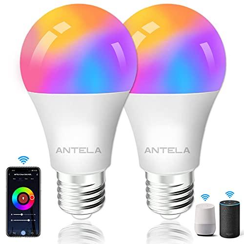 ANTELA Bombilla Inteligente Alexa Bombilla Wifi E27 10W 1000LM Compatible Con Google Home/Alexa, Bombilla RGBW 2700K-6500K, 16 Millones de Colores, 25000 Horas de Vida Útil, 2 Paquete