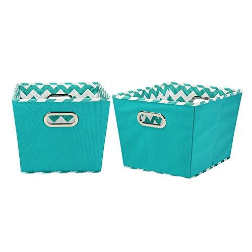 Household Essentials 90-1 Medium Tapered Decorative Storage Bins   2 Pack Set Cubby Baskets   Aqua Chevron