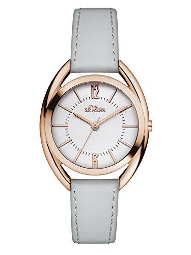 s.Oliver Damen-Armbanduhr Analog Quarz Leder SO-3160-LQ, grau