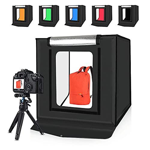 Salandens Caja de Luz Fotografía 60x60x60cm Estudio Fotográfico Brillo Ajustable Plegable Photo Studio Portátil Tienda con 2 Tiras...