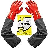 Haiou Guantes de estanque, guantes largos de PVC de goma impermeables con codo de longitud, guantes de acuario, 25 pulgadas, color rojo, 65cm