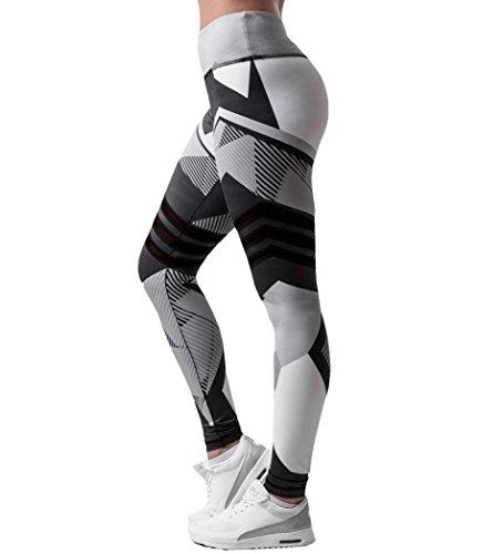 Damen 3/4 Yoga Leggings Hose , Yogogo Mittlere Taille Pants | Dünne Hosen | Mesh Muster Print Fitness Leggings | Sport Fitness Workout...