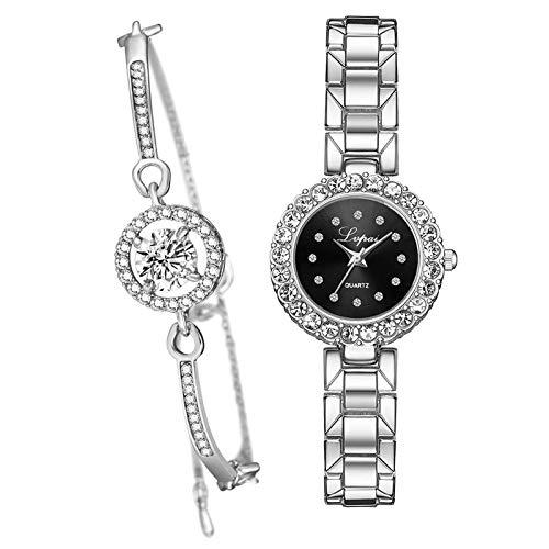 kowaku Conjunto de Pulsera Y Reloj Rosa Brazalete Reloj de Cuarzo Reloj de Pulsera Joyería Regalo - Negro Plateado de Plata