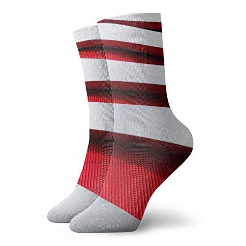BJAMAJ Unisex Sokken Wit Rood Houten Planken Interessant Polyester Crew Sokken Volwassene Sokken Katoen