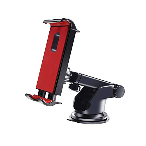 GAYBJ Car iPad Holder, No Obstruction View Dashboard Windshield Car iPad Mount Strong Suction for iPad, Large Navigation Equipment, MP5, PSP, etc,Red