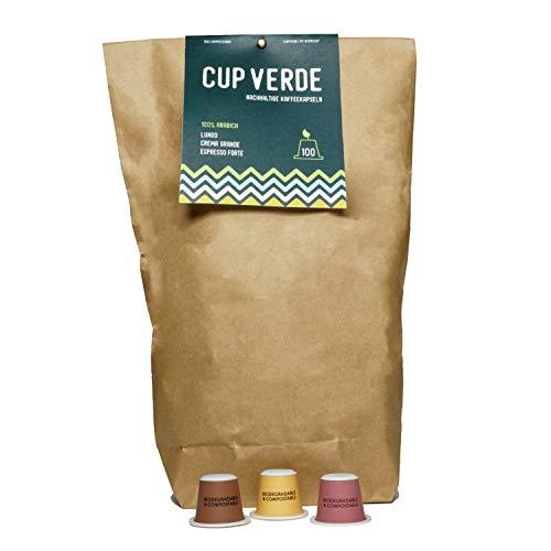 CUP VERDE – 100 nachhaltige Kaffeekapseln Nespresso* kompatibel. Biologisch abbaubar– fair gehandelt - schonend geröstet Mixpaket Lungo, Crema Grande, Espresso Forte