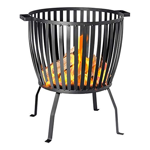 Harbour Housewares Fire Pit | Outdoor Garden Patio Heater Brazier Basket for Wood, Charcoal - 53cm Diameter
