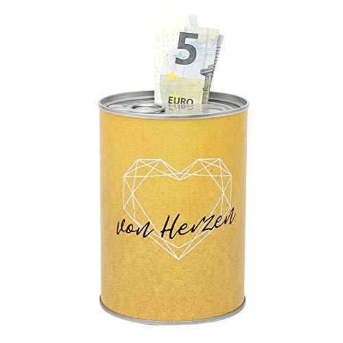 Dekohelden24 - Salvadanaio in metallo, motivo: cuore, Ø 8,6 cm x altezza 12 cm