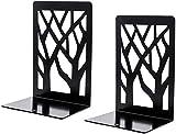 Sujetalibros de metal, resistente y negro, soporte para libros para estanterías, soporte decorativo para libros en forma de árbol, estantería de metal no salta, 12 × 9 × 17,5 cm