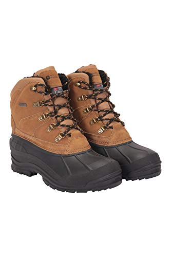 Mountain Warehouse Botas de Nieve para Hombre - 3m Thinsulate, 200 g de Forro isotérmico, cálidas y con Parte Superior de Piel - para Senderismo o esquí, Invierno Beige Oscuro 44