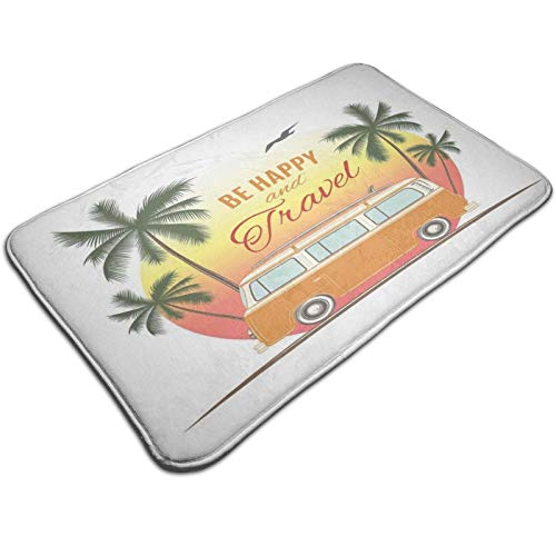 Bath Mat Non Slip,Retro Surf Van with Palms Camping Relax Hippie Travel Be Happy Free 60s Theme,Ultra Absorbent Bathroom Rug