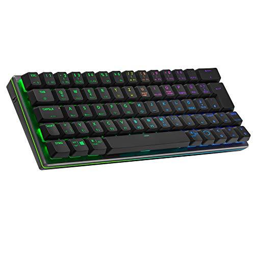 Cooler Master SK622 Wireless-Gaming-Tastatur im kompakten 60%-Layout, Flache mechanische Schalter, RGB-Beleuchtung, Bluetooth- und Kabelverbindung, Apple/PC/Smartphone-kompatibel – Schwarz