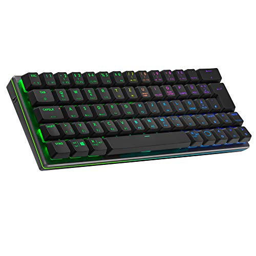 Cooler Master SK622 Wireless-Gaming-Tastatur im kompakten 60{61c8b8464ad7c16be1e2ce675b89ba3e9c2a2118a67f74f2e3ad91ab785b57e3}-Layout, Flache mechanische Schalter, RGB-Beleuchtung, Bluetooth- und Kabelverbindung, Apple/PC/Smartphone-kompatibel – Schwarz