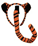 Tiger Animal Ears Headband and Tail Costume Accessory Kit for Kids and Adults Orange