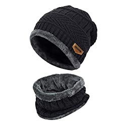 Vbiger Winter Hat Knitted Hat Warm Beanie Winter Hat and Scarf with Fleece Lining for Women and Men, Black, One Size