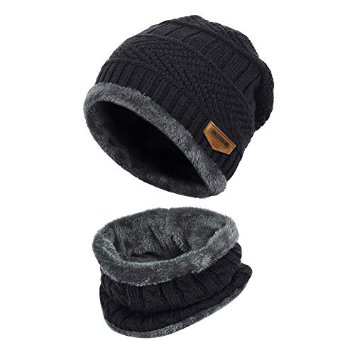 VBIGER 2-Pieces Winter Beanie Scarf Set Warm Hat Thick Knit Skull Cap for Men Women, One Size Black