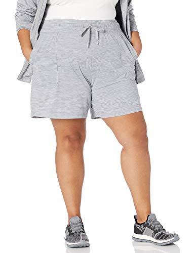 Amazon Essentials Women's Plus Size Brushed Tech Stretch Short, Grey Spacedye, 1X