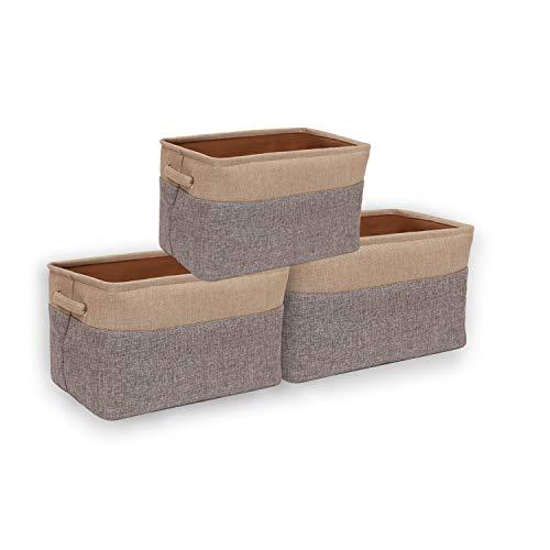 CASATOCA Faltbare Aufbewahrungsbox aus Leinen Aufbewahrungskorb mit Griff, Kinderkleidungskorb, für Kleidung, Spielzeug, Bücher, für Büro, Schrank, 3er-Set, Grau/Creme