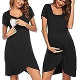 Pinspark Umstandsnachthemd Nachtkleid für Schwangere mit Stillfunktion Umstands-Nachthemd Stillnachthemd Herbst (Schwarz, XL)