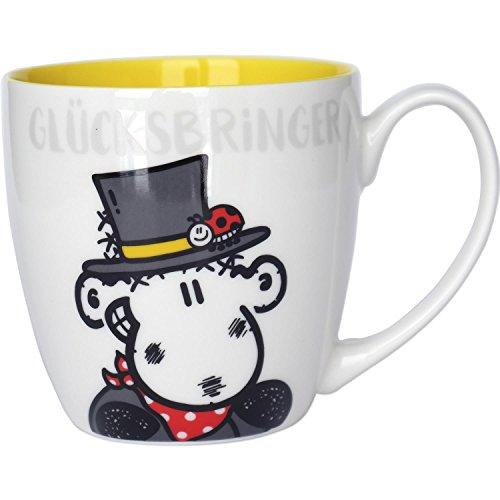 Sheepworld Kaffee 45428, Schaf als Schornstein-Feger, Innendruck gelb, Fine Bone China, 45 cl, Glücksbringer Tasse