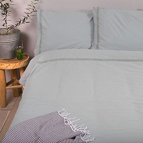 Moda De Casa Stonewashed 100% Cotton Duvet Cover Set, Eau De Nil, Double