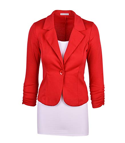 Auliné Collection Women's Casual Work Solid Color Knit Blazer Red 1X