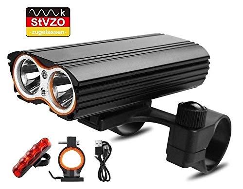 LED Fahrradlicht Set,StVZO Zugelassen Fahrradlampe 2400 Lumen IP65 Wasserdich Fahrradbeleuchtung, USB Aufladbare Fahrradlichter Superhelle Frontlicht 360° Rotation, 4400mAh 3 Licht-Modi