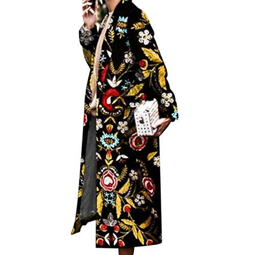 Katenyl Abrigo rompevientos con estampado de moda europea y americana, ropa de calle con solapa para mujer, chaqueta larga cálida y relajada con personalidad XL