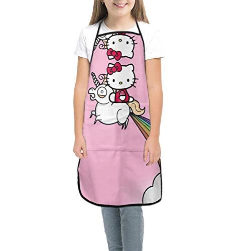Sumptuous Delantal para niños, diseño de Hello Kitty con unicornio, delantales con bolsillos, para niñas y niños, para cocinar, hornear, pintura, jardinería, pequeño