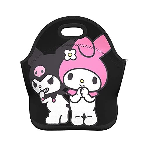 Bokueay Lovely Kuromi And My Melody Bolsa de almuerzo portátil reutilizable impermeable de gran capacidad Bolsa de almuerzo con aislamiento Caja de asas para viajes / picnic / trabajo Kuromi