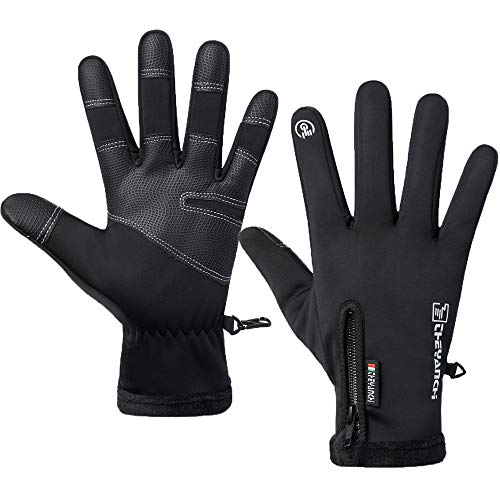 LJCUTE Winter Warm Fishing Gloves for Man Woman, Windproof, Water Repellent, Anti-Slip Running Gloves, Touch Screen Cold Weather Black Cycling Gloves for Skiing, Motorcycle, Driving, Hunting