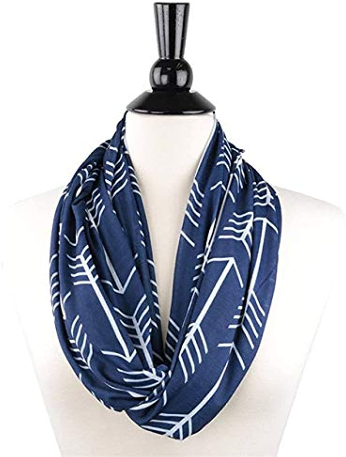 Party DIY Decorations  Newly Women Winter Arrowhead Pattern Congreenible Infinity Scarf with Pocket Loop Zipper Pocket Scarves Party DIY Decoration  (color  Dark bluee)
