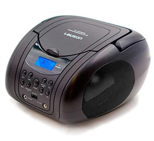Lauson, lettore CD portatile con USB, lettore MP3, lettore CD portatile, sintonizzatore radio FM, cuffie USB, AUX IN, rete e batteria, colore nero
