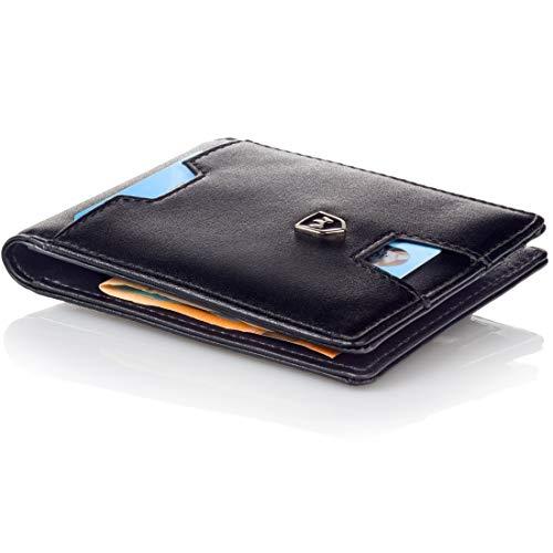Kronenschein® Premium Herren Geldbörse mit Geldklammer Portemonnaie Männer Geldbeutel Slim Wallet Portmonee RFID Brieftasche Kreditkartenetui Kartenetui (Black)