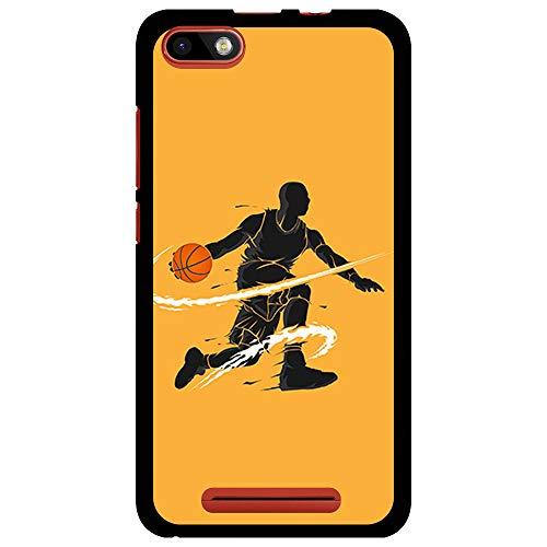 BJJ SHOP Funda Negra para [ Wiko Lenny 3 / Wiko Jerry ], Carcasa de Silicona Flexible TPU, diseño : Jugador de Baloncesto regate
