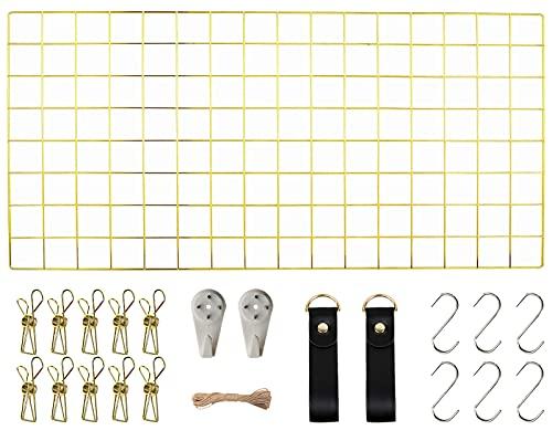 WUZILIN Upgrade Wandgitter Regal,DIY Eisen Gitter der Fotowand Dekoration Pinnwand Foto an der Memoboard Hängen in der Familie, Küche, Büro und so weiter (40 * 80cm) Gold