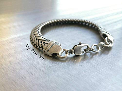 "925 Silver Plated Men's Bold Chain Bracelet (for wrist size approx 7.9"")"