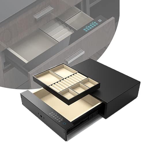 Caja Fuerte De CajóN/Caja De ContraseñA/Joyero, Invisible/Integrado, Huella Digital/ContraseñA/Llave, Compartimento Interno Ajustable, FáCil De Instalar, Carga Usb,E