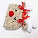 QWERGLL Weihnachten Schöne Neugeborene Hut Häkeln Weihnachten Foto Prop Kostüm Hut