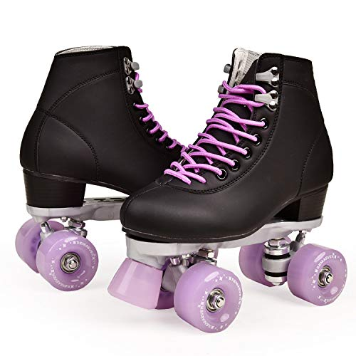 Artificial Leather Roller Skates Double Line Skates Women Men Adult Two Line Skate Shoes with Four Colors PU 4 Wheels-Lavender-8.5