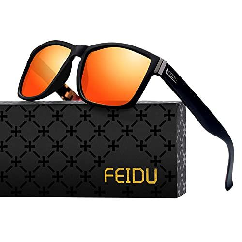 FEIDU Gafas de sol retro para hombre, polarizadas, textura transparente única, uso diario, como pesca, ciclismo, voleibol de playa, UV400, gafas de sol para mujer